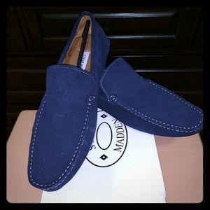 Men's Stitch Navy Blue Suede Loafers